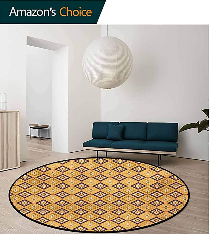 Modern Machine Washable Round Bath Mat Traditional Classic Pattern In Blue Tones And Modern Style Ethnic Non Slip Living Room Soft Floor Mat Diameter 39 Inch Navy Blue Baby Blue And White