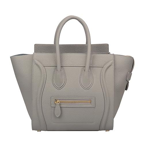 8970d9e6bc Ainifeel Women's Genuine Leather Smile Top Handle Handbag Purse