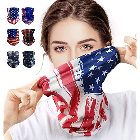 toyuugo [6 Pieces] Face Mask Bandana for Men, Washable Neck Gaiter Bandanas, American Flag Mask, Protection from Dust, Face Cover for Women Men Black