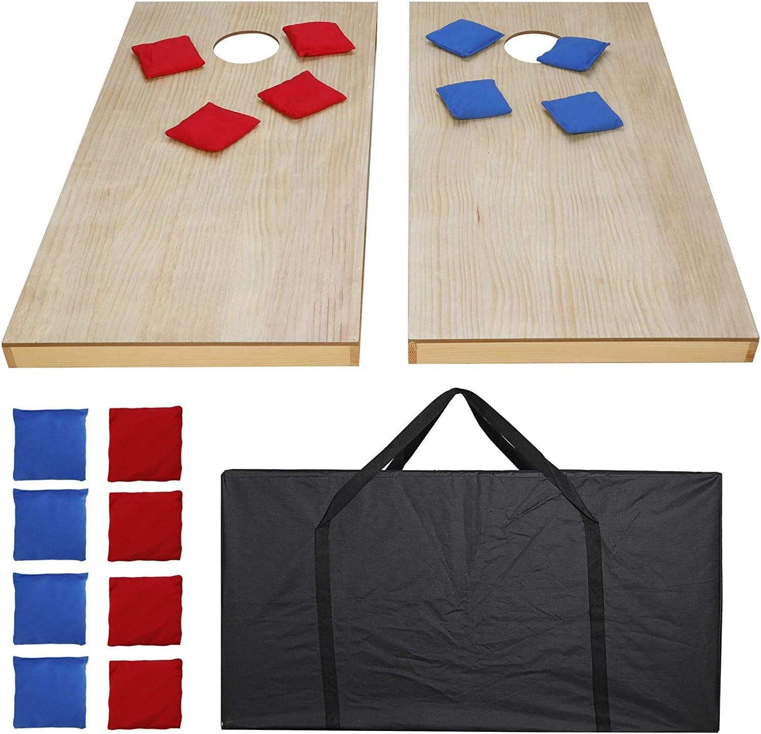 Smartxchoices Portable low-pricing Wood Cornhole Set Ultra-Cheap Deals 4'x Bag Bean 2' Ga Toss