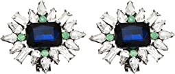Simulated Diamond and Simulated Sapphire Flower Cluster Design Shoe Clips