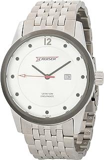 ساعة بمينا فضي وسوار ستانلس ستيل للرجال من كروزر - C7207-GSS