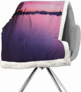Khakihome Lake Lightweight Fluffy Flannel and Sherpa Blanket 60 by 47 Inch Fuzzy PurpleCalm Lake After Sun Disappeared with Hazy Evening Skyline Tranquil Nature Inspired Print