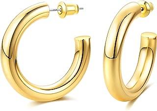 Thick Gold Huggie Hoop Earrings, Spike Cuff Loop | Chunky Open Hoops - 14K Gold Plated & 925 Sterling Silver Post