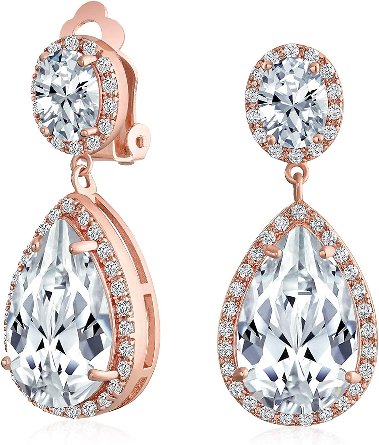 Large Teardrop Cubic Zirconia Pave CZ Halo Pageant Statement Dangle Clip On Earrings For Women Rose Gold Plate Brass
