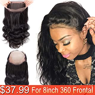 Doris Beauty 360 Lace Front Closure Free Part With Baby Hair 8inch Brazilian Body Wave Human Hair Lace Frontal 360 Human Hair Lace Frontal Closure Natural Black(8 inch)