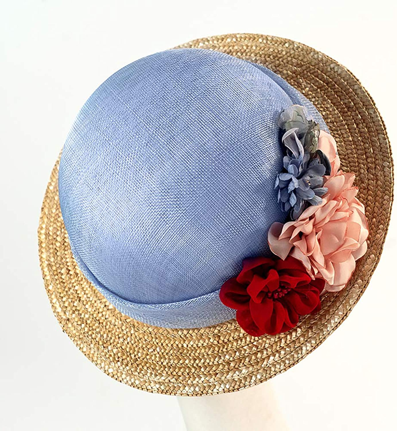 ESOCOME Beach Hat Spring and Summer Visor England Female Hat Rural Straw Hat Flower Hat Woman Sky bluee
