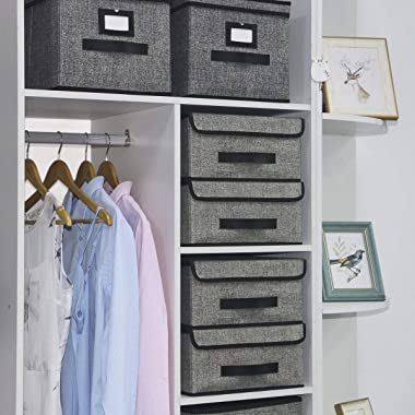 Onlyeasy Foldable Storage Bins Cubes Boxes with Lid - Storage Box Cube Cubby Basket Closet Organizer Pack of Two with Leather