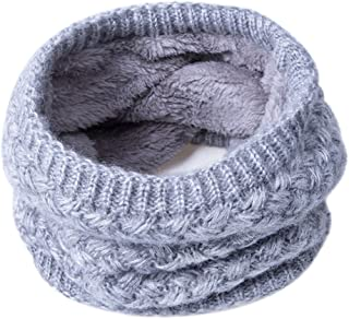 Infinity Scarf Knit Neck Warmer Scarf Winter Soft Thick Double-Layer for Women Men