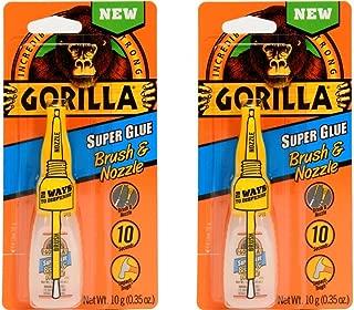Gorilla Super Glue with Brush & Nozzle Applicator, 10 Gram, Clear, (2 Pack)