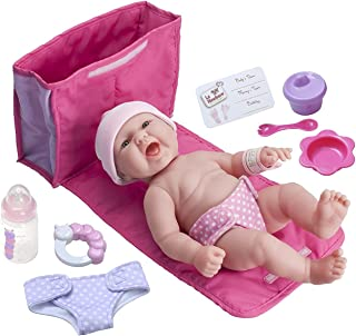 "LA NEWBORN 10 Piece Deluxe DIAPER BAG GIFT SET, featuring a 13"" Realistic All Vinyl Smiling Baby Newborn Doll – Perfect for Children 2+"