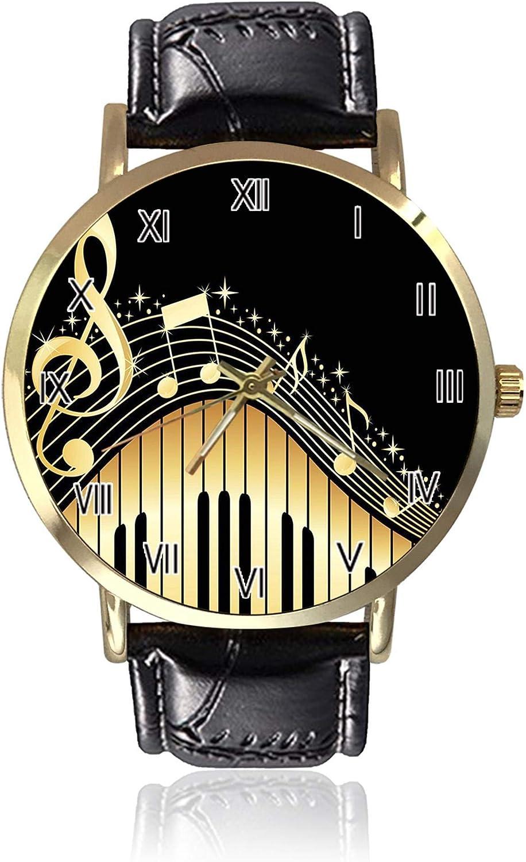 Reloj de Pulsera Vintage Abstracto de Piano y Nota Musical para Mujer, Unisex, de Piel, Casual, de Cuarzo