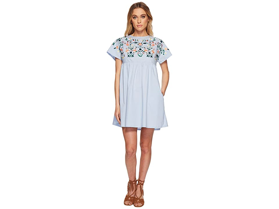 J.O.A. Kimino Style Dress with Lace-Up Back Detail (Sky) Women