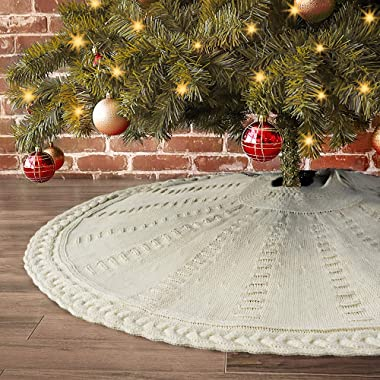LimBridge Christmas Tree Skirt, 48 inches Cable Knit Knitted Thick Rustic Xmas Holiday Decoration, Cream