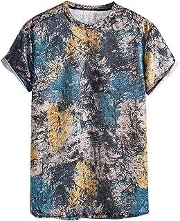 POQOQ T-Shirt Men Ethnic Printed Fashionable Comfortable Short Sleeve Top