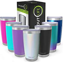 CHILLOUT LIFE 20 oz Stainless Steel Tumbler with Lid & Gift Box | Double Wall Vacuum Insulated Travel Coffee Mug with Splash Proof Slid Lid | Insulated Cup for Hot & Cold Drinks, Sparkle Tumbler