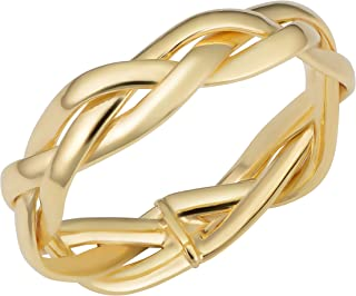 KoolJewelry 14k Yellow Gold Braided Band Minimalist Ring (5.25 mm)