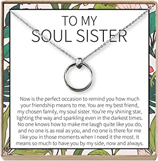 Dear Ava Soul Sisters Gift Necklace: Best Friends, BFF, Long Distance, Friends Forever