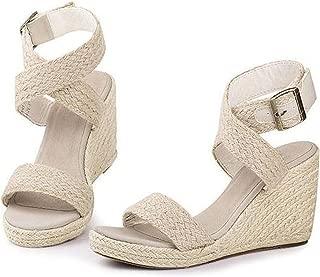 Gladiator Sandals Fashion Cross Strap Bukle Straw Brand Wedge Sandals Women High Heels Bohemia Beach Sandals
