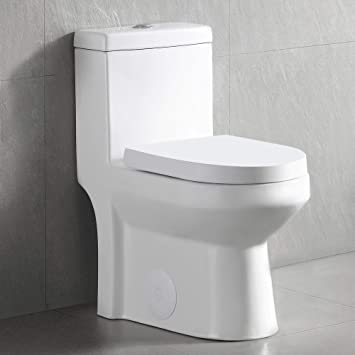 DeerValley DV-1F52812 White Mini Small Dual Flush One-Piece Toilet With  Soft Close Toilet Seat Tiny Compact Bathroom Water Closet - - Amazon.com