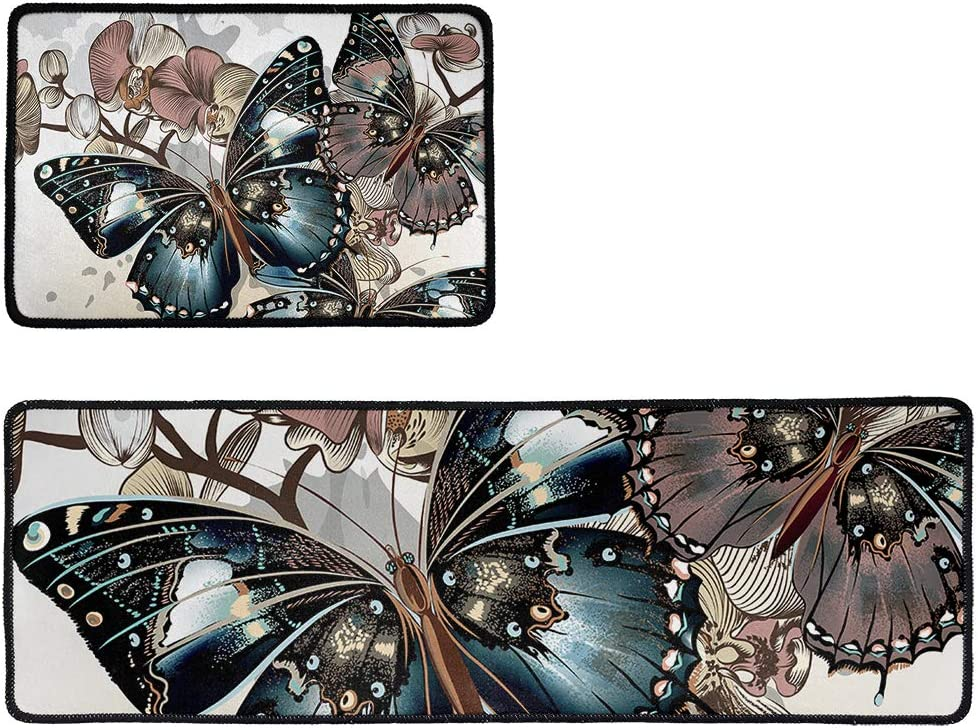 Gold Butterfly Anti Fort Worth SALENEW very popular! Mall Fatigue Kitchen Floor Non 2 Set Slip Mat of