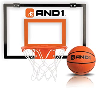 """AND1 Indoor Basketball Hoop- 18""""x12"""" Mini Basketball Hoop- Over the Door, Portable, & Easy to Install- Game Set for Childr..."""