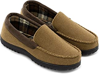 Men's Wool Micro Suede Moccasin Slippers House Shoes Indoor/Outdoor