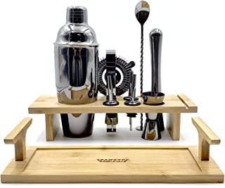 10-Piece Bartender Kit | Complete Bar Tool Set with Stylish Multi-purpose Bamboo Stand | Home Bartending Kit and Martini C...