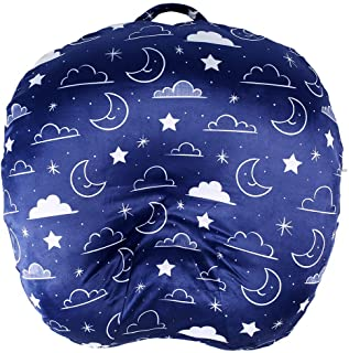 Minky Removable Newborn Lounger Cover Nursing Pillow Slipcover Super Soft Snug Fits Boppy Lounger (Navy Blue, Stars and Cl...