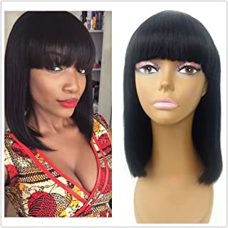 JYL Hair Human Hair Bob Wigs with Bangs Brazilian Yaki Machine Made Glueless Short Wigs Grade 8A (12