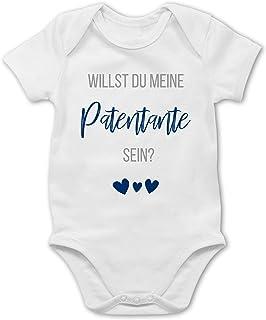 Shirtracer Strampler Motive - Willst du Meine Patentante Sein Marine - Baby Body Kurzarm für Jungen und Mädchen