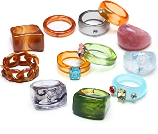 RIOSO 12Pcs Resin Acrylic Retro Rings for Women Vintage Colorful Plastic Resin Wood Ring Fashion Retro Ring Set