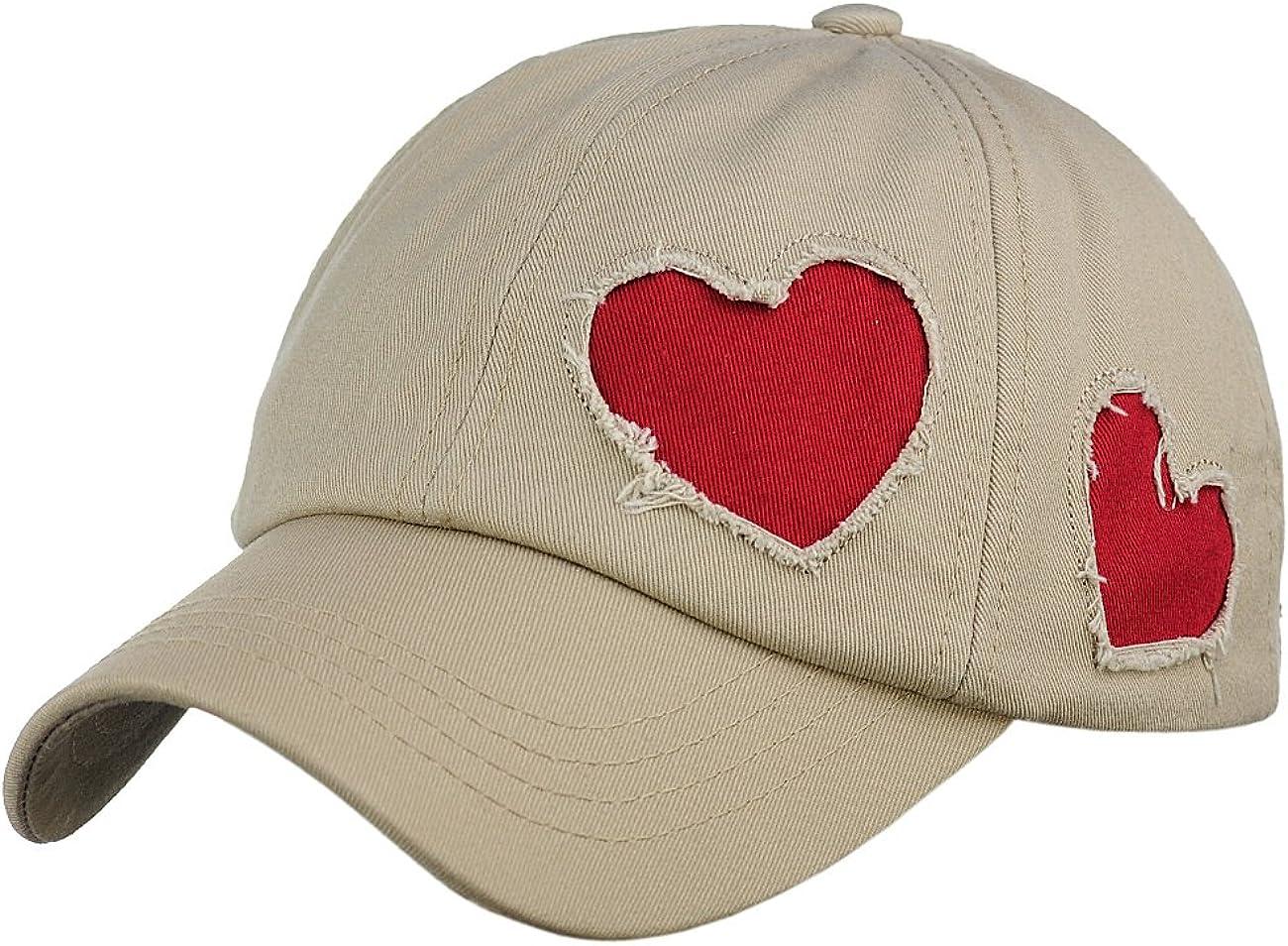 C.C Women's Heart Cut Design Cotton Unstructured Precurved Baseball Cap Hat