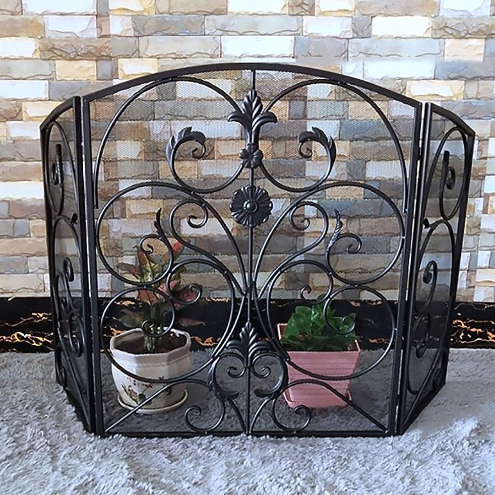 知恵明示的に溶ける暖炉用品 アクセサ クラシック暖炉スクリーン3パネル錬鉄の装飾メッシュ、スパークガードセーフティドア - 調整幅 - ブラック