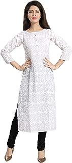 QueenShield Chikankari Kurtis for Women Cotton Chikan Kari Kurta Kurti Indian Dress for Girls Ladies - White