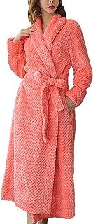 HX fashion Dressing Gown Ladies Long Comfortable Soft Flannel Unisex Couple Comfortable Sizes Bathrobe Long Sleeve V-Neck ...