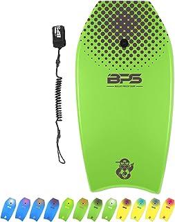 BPS 'Shaka' Bodyboard with Wrist Leash - Strong TPU Wrist Leash and Constructed with HPDE Slick Bottom