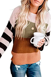 FZ FANTASTIC ZONE Women's Striped Color Block Loose Casual Long Sleeve Knit Pullover Sweater Tops