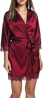 Women's Bathrobes Short Satin Kimono Robes Bridesmaids Sleepwear with Oblique V-Neck S-XXL