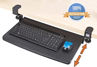 Stand Steady Clamp On Keyboard Tray | Keyboard Shelf - Small Size - Easy Tool-Free Install - No Need to Drill into Desk! Retractable to Slide Under Desktop | Great for Home or Office!