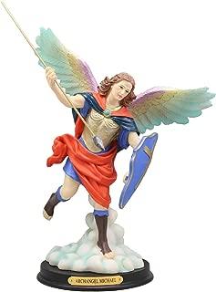 Ebros Colorful Archangel Saint Michael Throwing Javelin Spear Statue 10