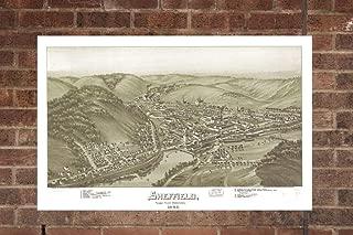 Retro Printing Company Vintage Sheffield Map, Aerial Sheffield Photo, Historical Vintage Sheffield PA, Old Sheffield Photo, 1895, Home Decor, Wall Art