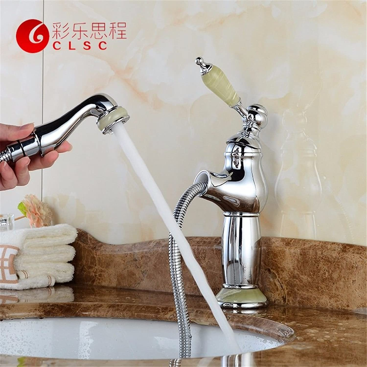 Commercial Single Lever Pull Down Kitchen Sink Faucet Brass Copper Chrome Marble Antique European Pull Bathroom Hot and Cold Faucet Bathroom Single Hole Above Counter Basin Kitchen Bathroom Vanity