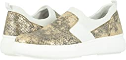 Gold Metallic Snake-Print Italian Leather