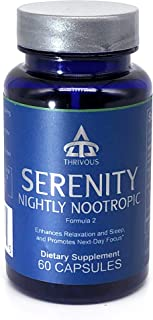 Serenity Nightly Nootropic (New Label) - Enhance Relaxation, Sleep & Next-Day Focus - Premium Natural Nootropic Supplement: L Theanine, Magnesium Glycinate, Melatonin