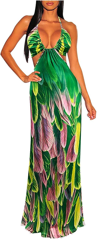 Women's Halter V-Neck Long Dress 2021 model Fashion Casual Spaghetti Strap Credence