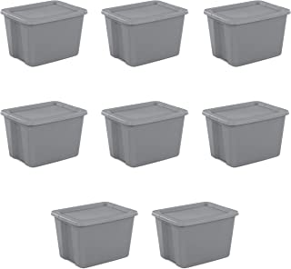 Sterilite 18 Gal Tote Box, Steel 8 pcs