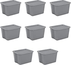 Sterilite 18 Gal Tote Box, Steel 8 pcs