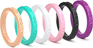 Rinfit Silicone Wedding Ring for Women Rings. Soft & Stackable Silicone Wedding Band - U.S. Design Patent Pending. Size 4-10