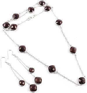 Ratnagarbha Smoky Quartz Necklace, Solitaire Smoky Quartz, Gemstone Bezel Chain Necklace, Bezel Set Necklace, Curb Chain, ...
